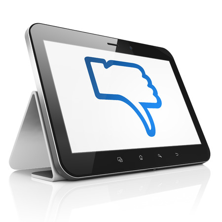 Social network concept: black tablet pc computer with Thumb Down icon on display. Modern portable touch pad on White background, 3d render photo