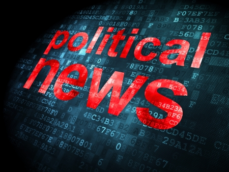 News concept: pixelated words Political News on digital , 3d render photo