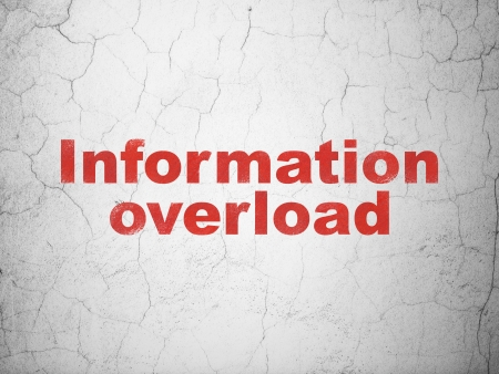 overload: Data concept: Red Information Overload on textured concrete wall background, 3d render