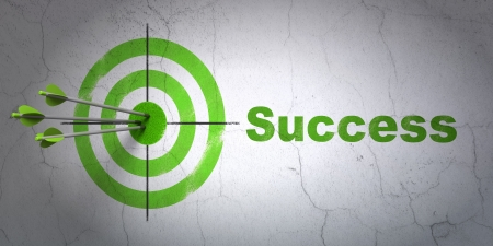 Success business concept: arrows hitting the center of target, Green Success on wall background, 3d render Stock Photo