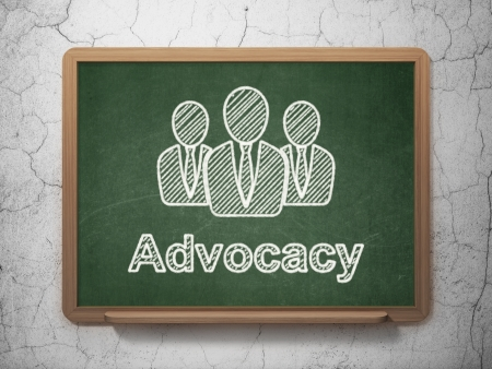 advocacy: Law concept: Business People icon and text Advocacy on Green chalkboard on grunge wall background, 3d render Stock Photo