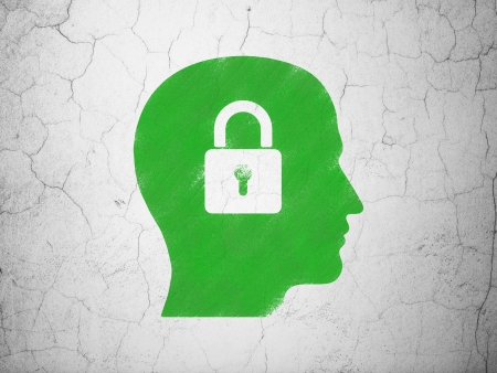 brain storm: Finance concept: Green Head With Padlock on textured concrete wall background, 3d render