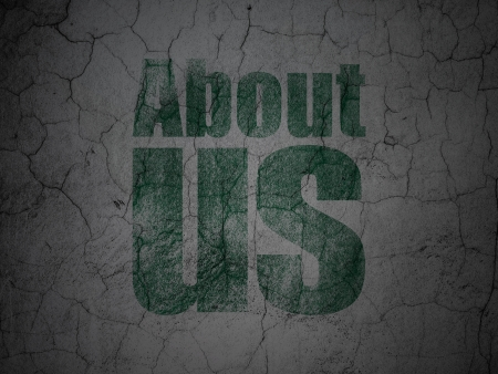 Marketing concept: Green About Us on grunge textured concrete wall , 3d render photo