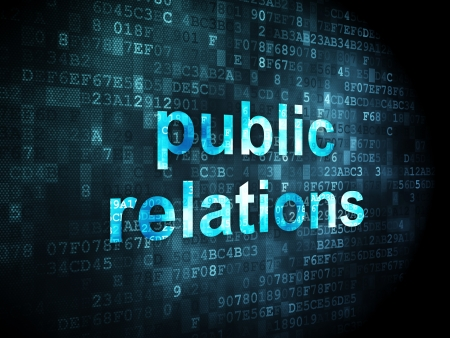 Marketing concept: pixelated words Public Relations on digital background, 3d render