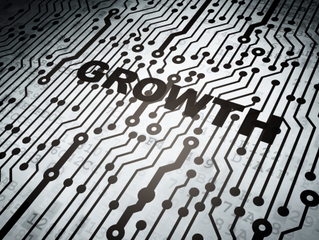 busines: Finance concept: circuit board with  word Growth, 3d render