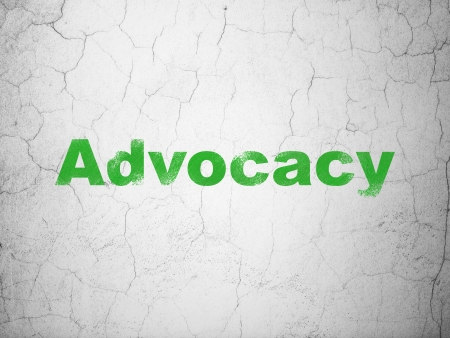advocacy: Law concept: Green Advocacy on textured concrete wall , 3d render Stock Photo