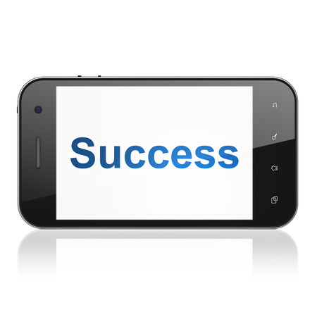 Business concept: smartphone with text Success on display. Mobile smart phone on White background, cell phone 3d render photo