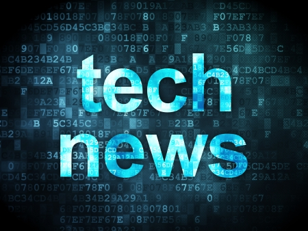News concept: pixelated words Tech News on digital background, 3d render photo