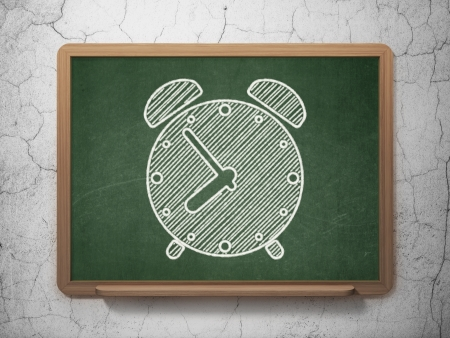 Time concept: Alarm Clock icon on Green chalkboard on grunge wall background, 3d render photo