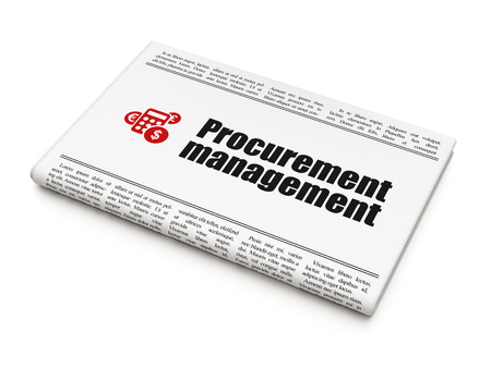 Business concept: newspaper headline Procurement Management and Calculator icon on White background, 3d render photo
