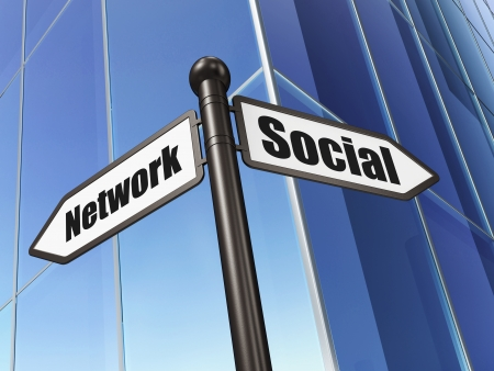 Social media concept: sign Social Network on Building background, 3d render photo
