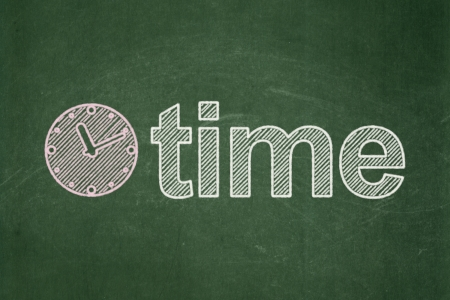 Time concept: Clock icon and text Time on Green chalkboard , 3d render photo