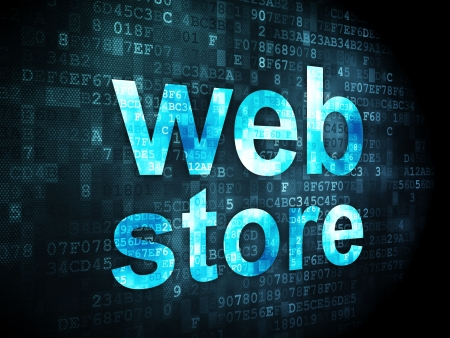 SEO web development concept: pixelated words Web Store on digital , 3d render photo