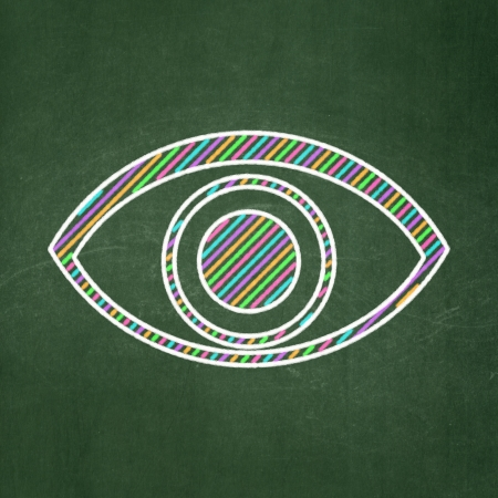 Privacy concept: Eye icon on Green chalkboard , 3d render photo