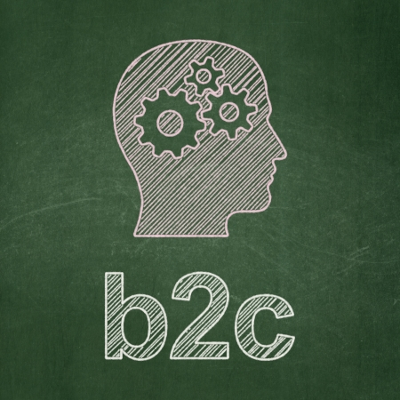 buisnes: Business concept: Head With Gears icon and text B2c on Green chalkboard , 3d render Stock Photo