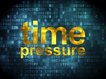 Timeline concept: pixelated words Time Pressure on digital , 3d render photo