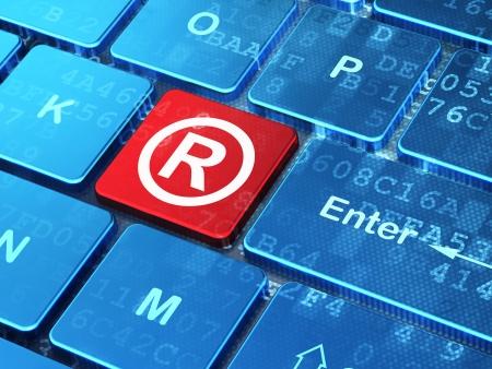 法の概念: [登録] アイコンをコンピューターのキーボード入力ボタンの背景、3 d のレンダリング