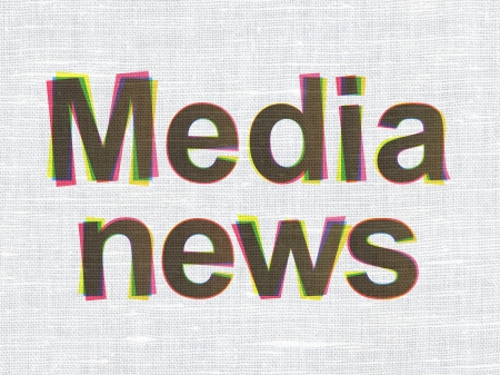 News concept: CMYK Media News on linen fabric texture , 3d render photo