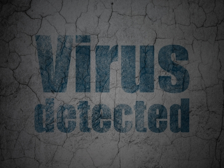detected: Safety concept: Blue Virus Detected on grunge textured concrete wall background, 3d render