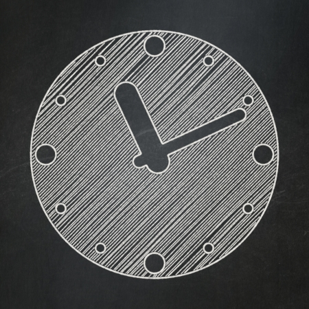 Time concept: Clock icon on Black chalkboard , 3d render photo