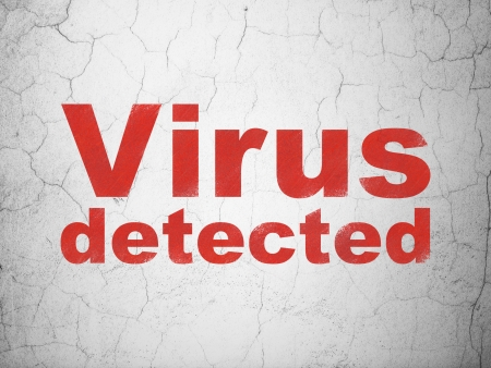 detected: Privacy concept: Red Virus Detected on textured concrete wall , 3d render Stock Photo