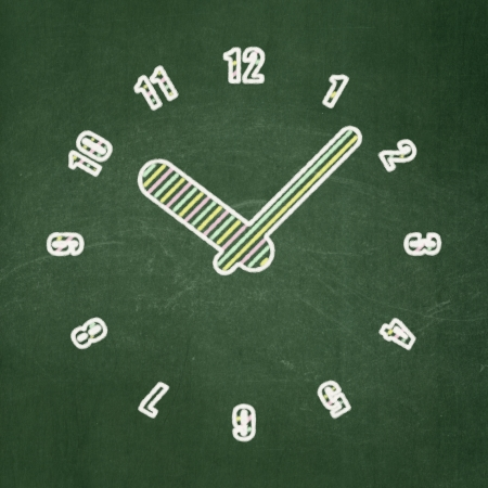 Timeline concept: Clock icon on Green chalkboard , 3d render photo