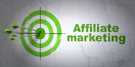 buisnes: Success finance concept: arrows hitting the center of target, Green Affiliate Marketing on wall background, 3d render