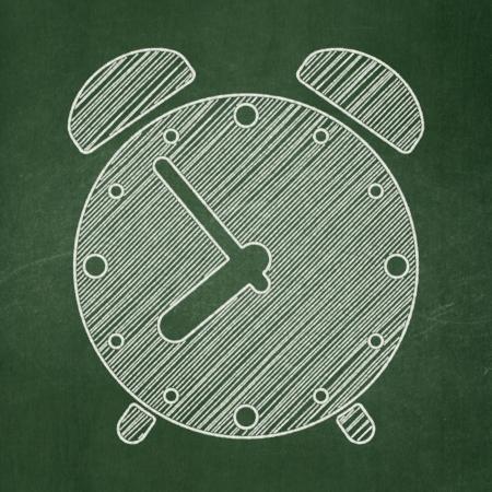Timeline concept: Alarm Clock icon on Green chalkboard , 3d render photo
