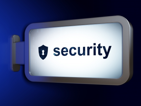Protection concept: Security and Shield With Keyhole on advertising billboard , 3d render photo