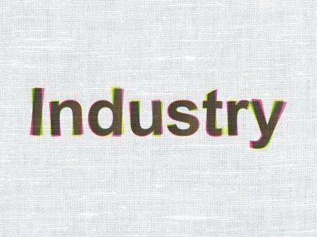 busines: Finance concept: CMYK Industry on linen fabric texture , 3d render