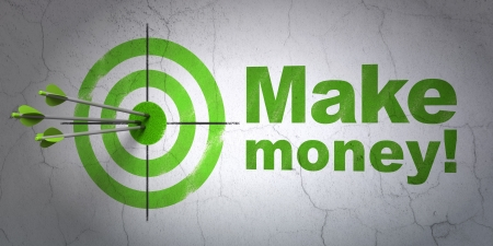 Success business concept: arrows hitting the center of target, Green Make Money! on wall , 3d render photo