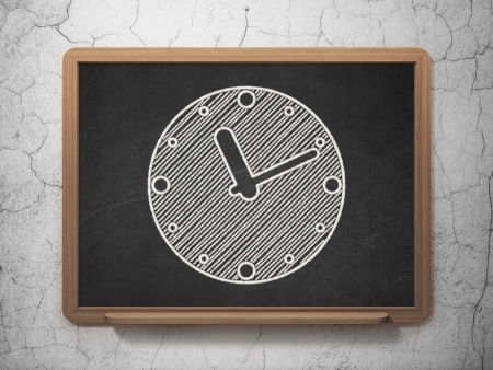 Time concept: Clock icon on Black chalkboard on grunge wall , 3d render photo