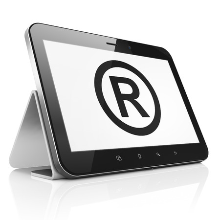 r regulation: Law concept: black tablet pc computer with Registered icon on display. Modern portable touch pad on White , 3d render
