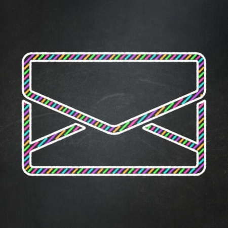 busines: Business concept: Email icon on Black chalkboard , 3d render