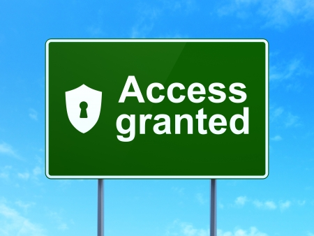 Privacy concept: Access Granted and Shield With Keyhole icon on green road (highway) sign, clear blue sky , 3d render photo