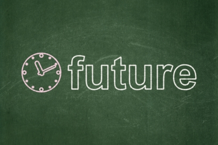 Timeline concept: Clock icon and text Future on Green chalkboard , 3d render photo