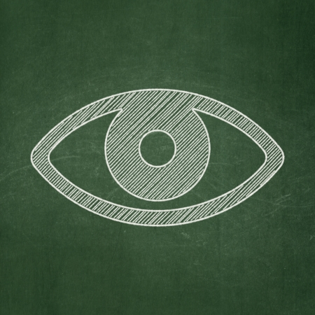 Security concept: Eye icon on Green chalkboard background, 3d render photo