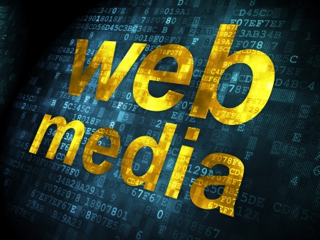 SEO web development concept: pixelated words Web Media on digital , 3d render photo