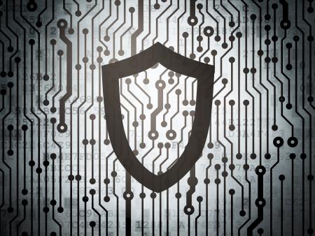 contoured: Concepto de seguridad: placa de circuito con contorneada Shield icon, 3d