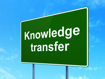 Education concept: Knowledge Transfer on green road (highway) sign, clear blue sky background, 3d render photo
