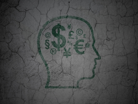 Business concept: Green Head With Finance Symbol on grunge textured concrete wall background, 3d render photo