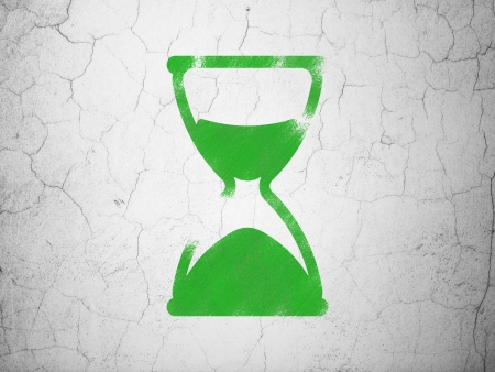 Timeline concept: Green Hourglass on textured concrete wall , 3d render photo