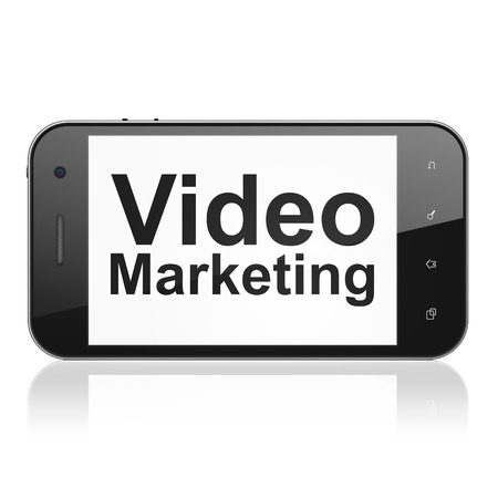 Business concept: smartphone with text Video Marketing on display. Mobile smart phone on White , cell phone 3d render photo