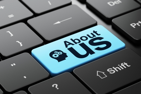Advertising concept: computer keyboard with Head With Gears icon and word About Us, selected focus on enter button, 3d render Standard-Bild