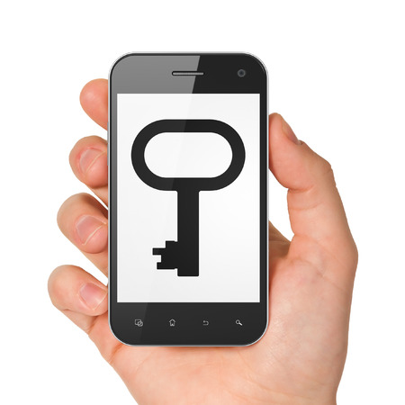 Safety concept: hand holding smartphone with Key on display. Mobile smart phone on White , 3d render photo