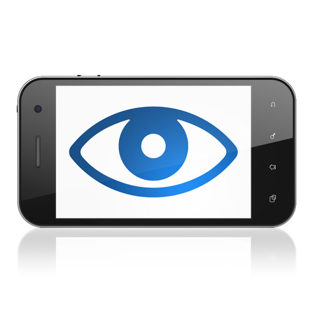 Security concept: smartphone with Eye icon on display. Mobile smart phone on White , cell phone 3d render photo