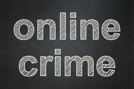 Privacy concept: text Online Crime on Black chalkboard background, 3d render photo