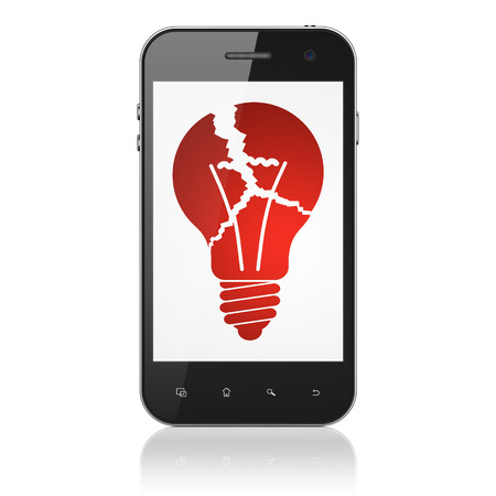 Finance concept: smartphone with Light Bulb icon on display. Mobile smart phone on White background, cell phone 3d render photo