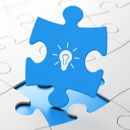 busines: Finance concept: Light Bulb on Blue puzzle pieces background, 3d render