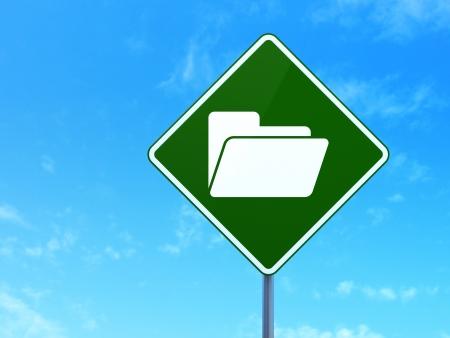 busines: Finance concept: Folder on green road (highway) sign, clear blue sky , 3d render